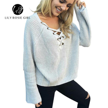 Flare Sleeve Knitted Sweater Women 2016 Winter Lace Up V Neck Pullover Sexy Pink Jumpers Casual Loose Split Knitwear Outwear