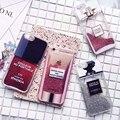 Nuevo lujo quicksand brillo caja del teléfono para apple iphone 7 iphoria 7 Más 6 6 s 6 plus Perfume botella Rouge proteger la espalda cubierta