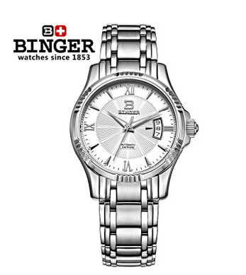 2017 Famous Brand Binger Stainless Steel Automatic Self Wind Skeleton Mechanical Men Full Steel Watch Men Roma Dial Wristwatch women favorite extravagant gold plated full steel wristwatch skeleton automatic mechanical self wind watch waterproof nw518