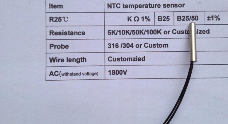 Free Ship 10pcs Waterproof Ntc Sensor Temperature Ntc 5k Probe 5*25MM Cooper Head 5k Ntc Sensor B3470 1% 1M Thermistor Ntc 5k
