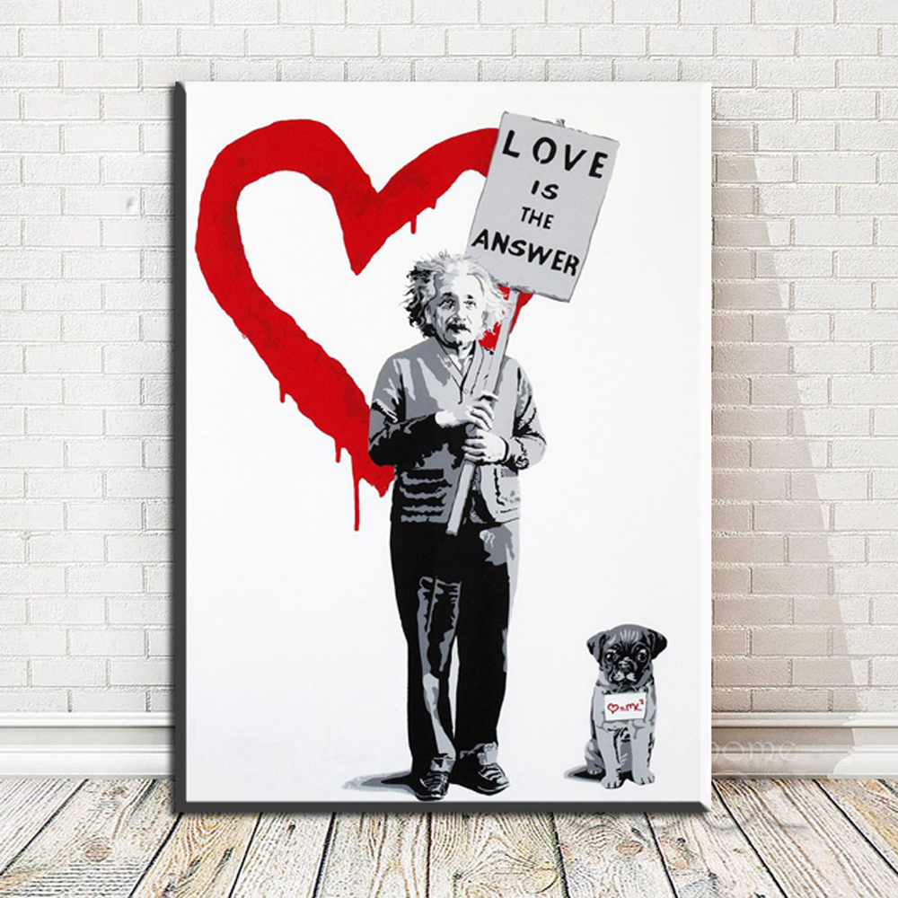Banksy Canvas Art Zz1973 Large Banksy Canvas Art Painting Love Is The Answer Wall