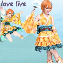 New LoveLive! Rin Hoshizora Cosplay Costume Yukata Kimono Dress Uniform Outfit Halloween Adult Costumes for Women S-XL