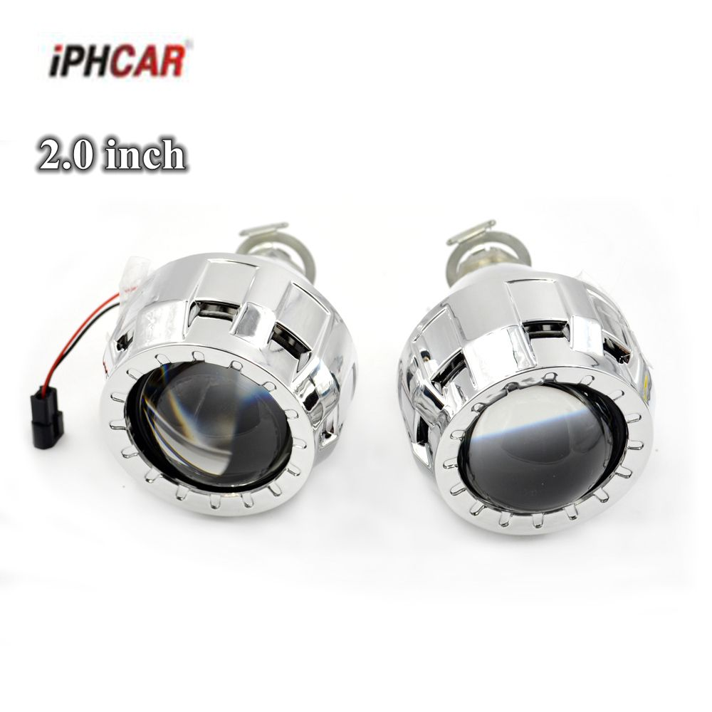 2pcs 2 0 inch car Bi xenon Bixenon Projector lens with shrouds mask H1 H4 H7