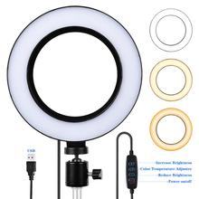 Mamen FT-06 6'' Photography Dimmable LED Selfie Light  200K-5500K Ring With USB Plug Tripod