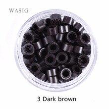 1000 шт 5 мм микрокольца, бусины силиконовые цепочка с бусинами микросхемы для перьев, пучков нарощенных волос инструменты 3# темно-коричневый. 9 Цвета опционально