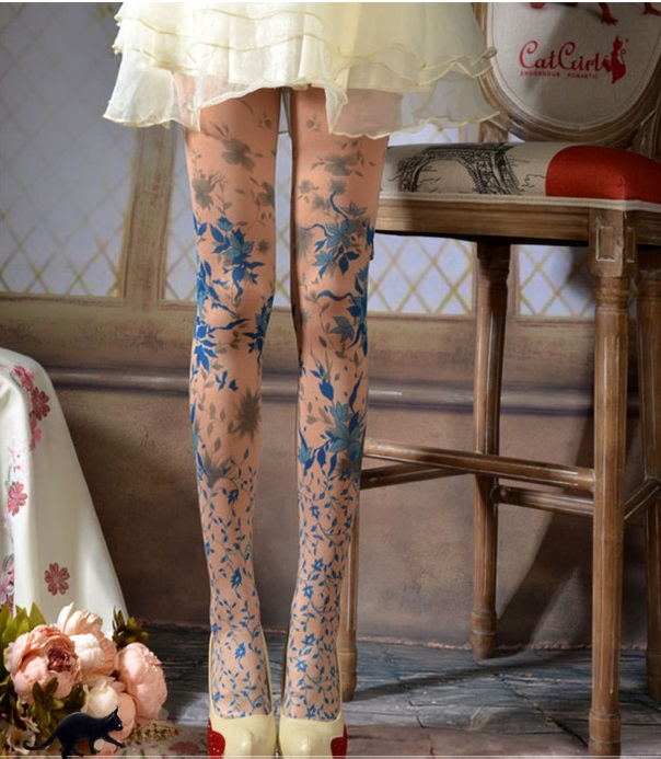 Unique Stockings False Tattoos Lace Pattern Thick Blue Plants Pattern Tights High-quality  Silk Stockings 1 Order=1pc