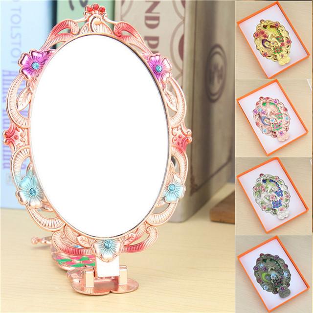Caliente rhinestone chic retro patrón de flores de la vendimia señoras espejo de maquillaje escritorio espejo de maquillaje herramientas de uso doméstico y de oficina