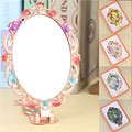 Hot rhinestone chic retro vintage flowers pattern ladies makeup mirror desktop mirror makeup tools home office use