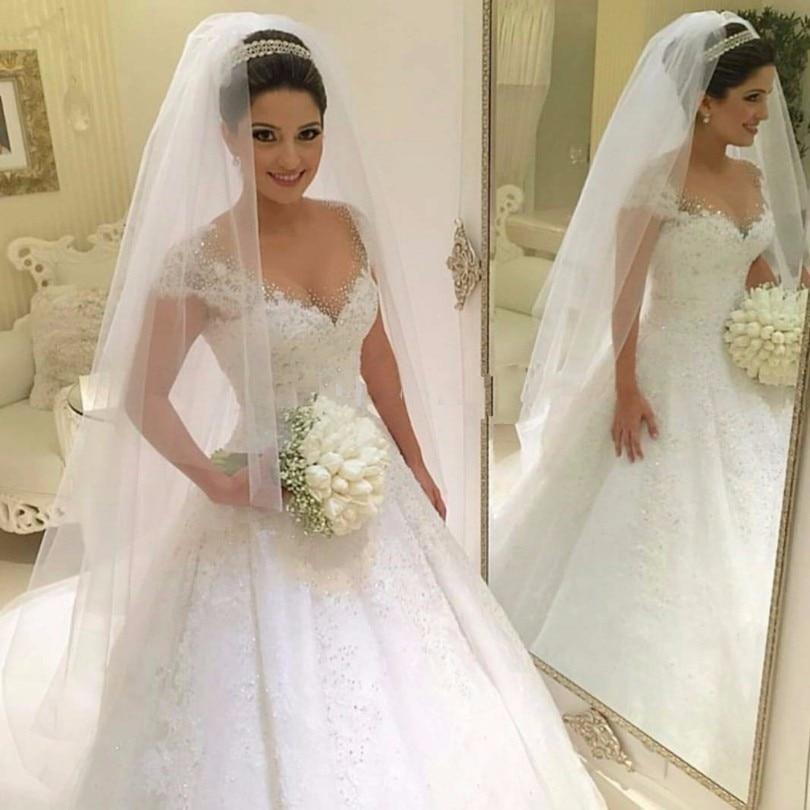 Princess Arabic Wedding Dresses Turkey Vintage Lace Wedding Gowns Ball Gown Bride Dresses Vestido de Noiva
