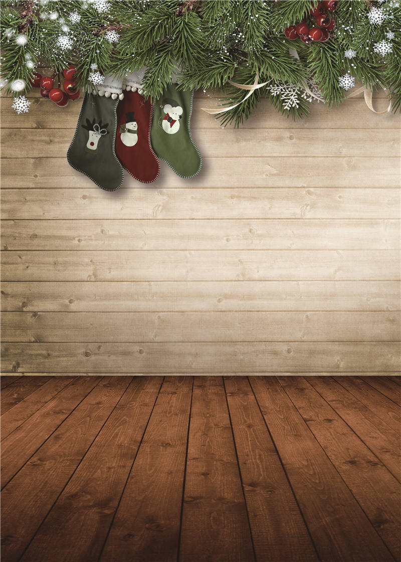 Vinyl Photo Background Christmas for Baby Studio Props Wooden Floor Photography Backdrops 5x7ft or 3x5ft Jiesdx045