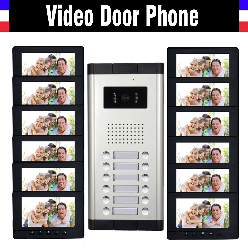 12 Units Apartment Video Intercom System 7 Inch Monitor Video Door Phone Intercom System Wired  Home Video Doorbell kit|video intercom|video intercom system|video door phone intercom - title=