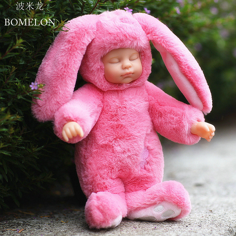 Kawaii Sleeping Baby Reborn Cute long-eared Rabbit Plush Soft Toy Dolls Stuffed Animal Toys Boys Girl Toys Gift Brinquedos 2016 new baby hanging rattle toy soft plush rabbit musical mobile child infant toys cute for cat