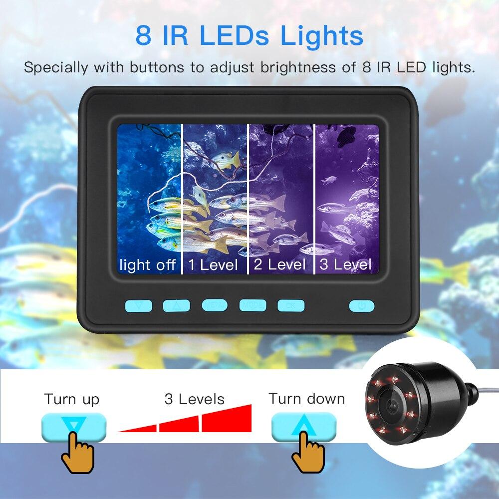 Eyoyo Video buscador de peces 4,3 pulgadas HD Monitor 8 lámpara LED impermeable Cámara subacuática visión nocturna para equipo de pesca al aire libre - 3