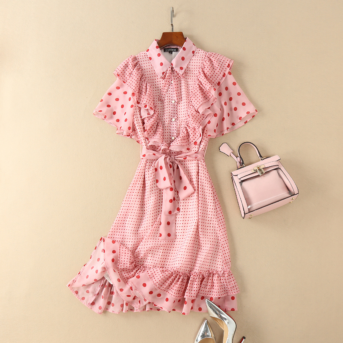 Sweet pink polka dots print chiffon shirt dress ruffles front button-up cute sexy mermaid dresses new 2018 summer fashion