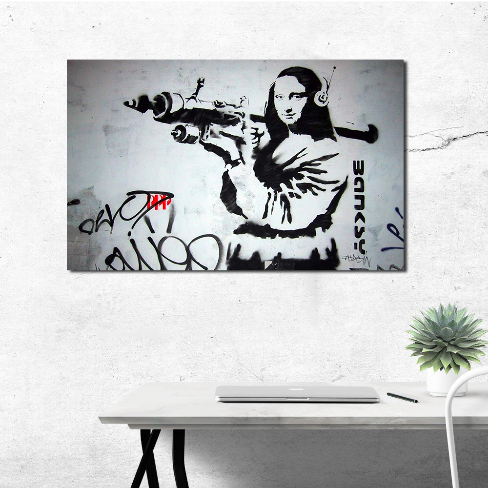 QCART A Woman With A Gun On Her Back Wall Pictures For Living Room Canvas Art Home Decor Modern No Frame Oil Painting