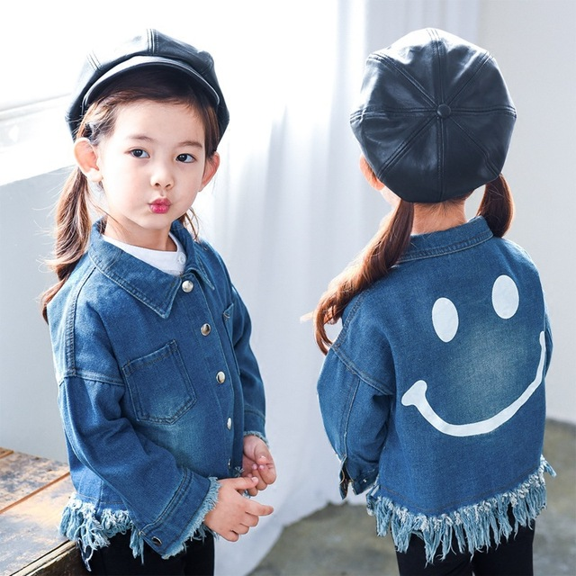 2018 New Girl 2 Years Old 7year Old Spring Autumn Smile Face T El Jacket Casual Fashion Trend Sales Baby Denim Jacket