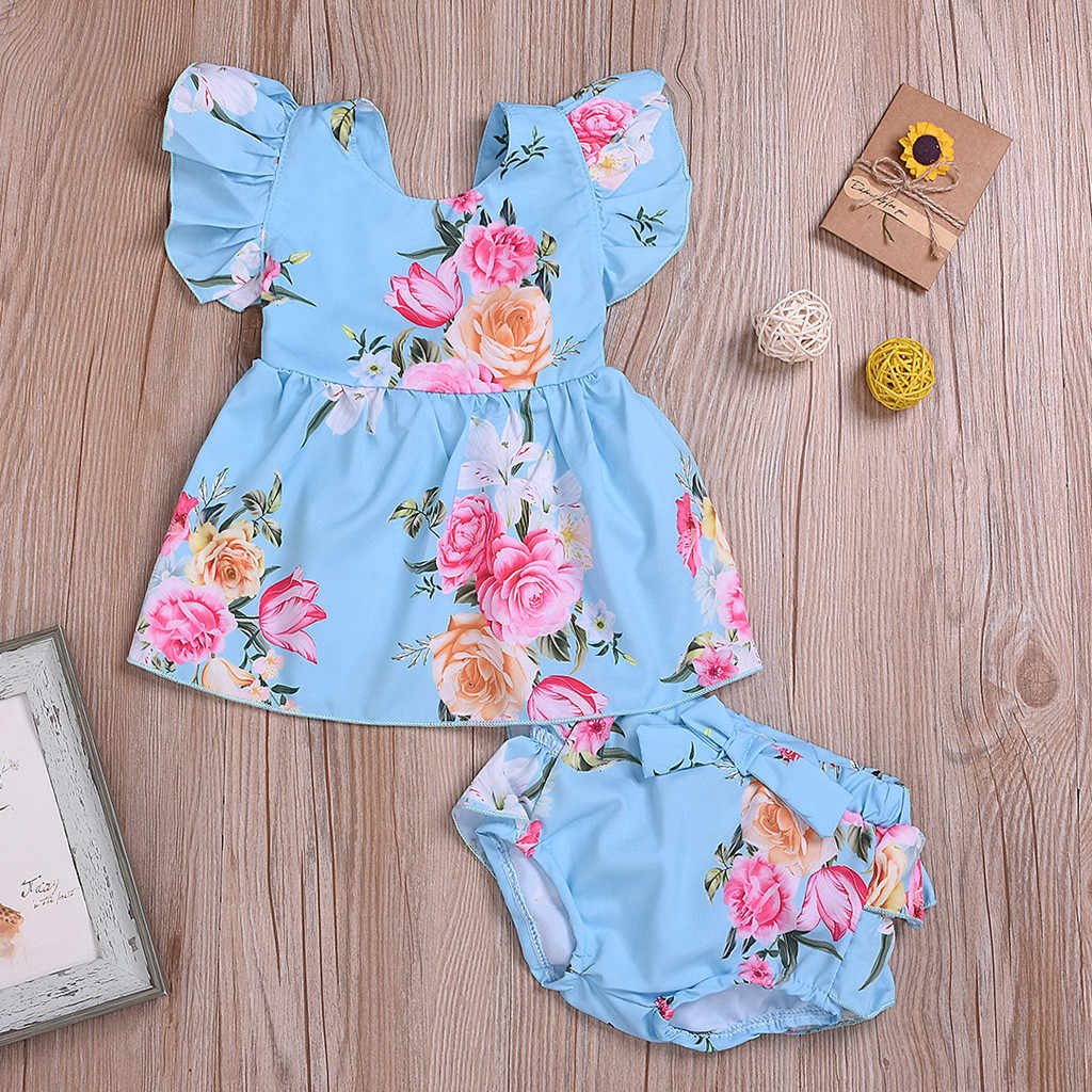 Infant Baby Girl Summer Clothes Flower Floral Baby Set Ruffled Print Tops Shorts 2PC Outfuits Sets Summer 2019 Roupa Menina