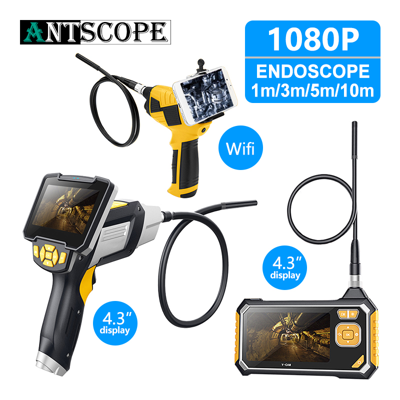Antscope 4.3 Inch Industrial Endoscope 1080P Inspection Camera For Auto Repair Tool Snake Hard Handheld Wifi Endoscope Android