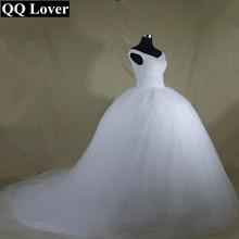 QQ מאהב 2020 בתוספת גודל חדש יוקרה בלינג בלינג קריסטלים רכבת כדור שמלת חתונת שמלת תחרה עד בחזרה