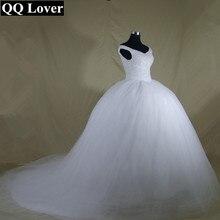 QQ Lover 2020 de talla grande nuevo de lujo Bling cristales tren vestido de boda Vestido de encaje hacia atrás