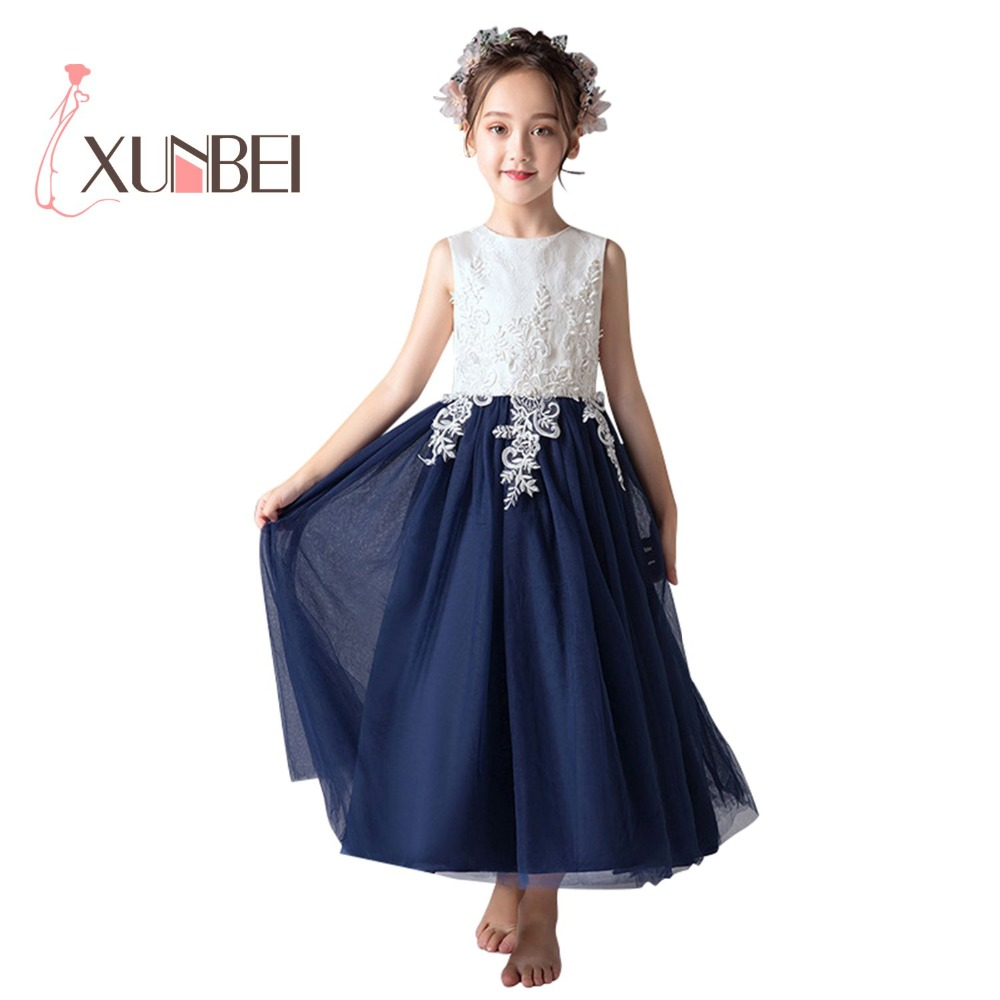 Princess Navy   Flower     Girl     Dresses   2019 Lace Appliqued Chiffon   Girls   Pageant   Dresses   First Communion   Dresses   Party Gown
