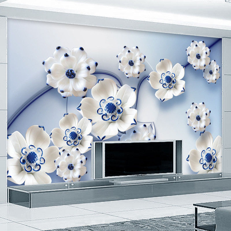 Custom 3D Stereoscopic Blue Lotus Jade Carving TV Background Wall Mural Bedroom Wallpaper Designs Home Decor Wall Paper Murals custom baby wallpaper snow white and the seven dwarfs bedroom for the children s room mural backdrop stereoscopic 3d