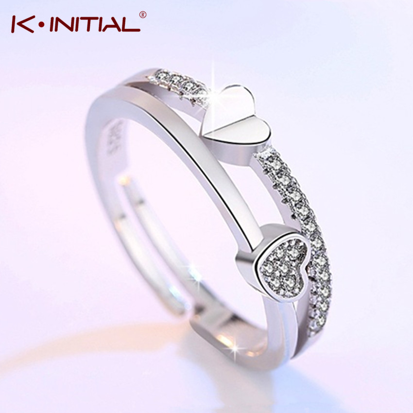 Kinitial Silver Plated Double Heart Rings for Women Love Rings Zircon Adjustable Wedding Engagement Ladies Knuckle Finger Rings