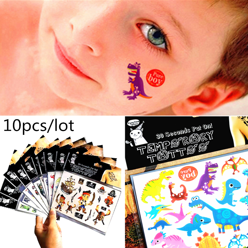 10 Sheets Cartoon Temporary Tattoo Sticker Kids Body Art Novelty Gag Toys Waterproof 2-3 Days BUY 10 GET 2 FREE