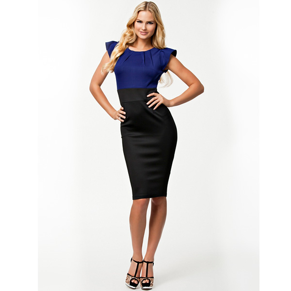 New Fashion Elegant Blue and Black Patchwork Dress Free Shipping Knee Length Bodycon Bandage Dress