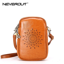 цена на NEVEROUT Vintage Hollow Out Style Cell Phone Bag Mini Leather Shoulder/Messenger/Crossbody Bag for Girl Flap Bag Black/Red/Brown