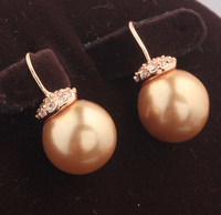 Dazzling Brown Champagne Pearl White Gems Cubic Zirconia Gold Color Filled Dangle Earrings Fashion Jewelry S5464