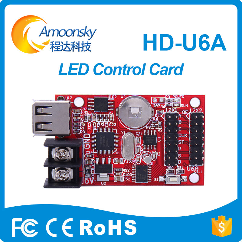 HD U6A led control card for mini led display USB disk communication Cheap LED Display Control Card magnetic attraction bluetooth earphone headset waterproof sports 4.2