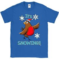 It S Snowing Robin Bird Singing In The Snowflakes Mens T ShirtFunny Casual Brand Shirts Top