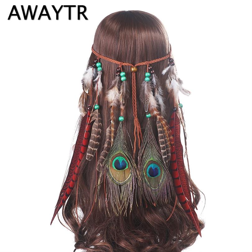 AWAYTR Indian Feathers Headbands for Women Festival Headband Fashion Boho Style Beads Feather Headwear Girls Hair Accessories