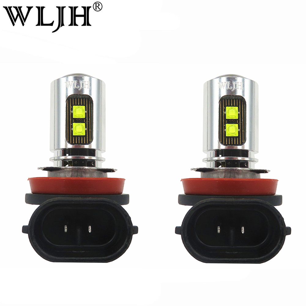 2x wljh 800lm branco brilhante 6000 k h8 h11 luz led fog lampada luz de conducao