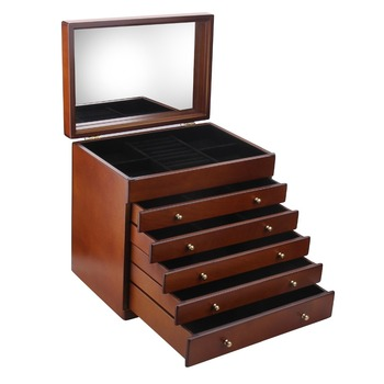 Brown Large Wooden Jewelry Box Display