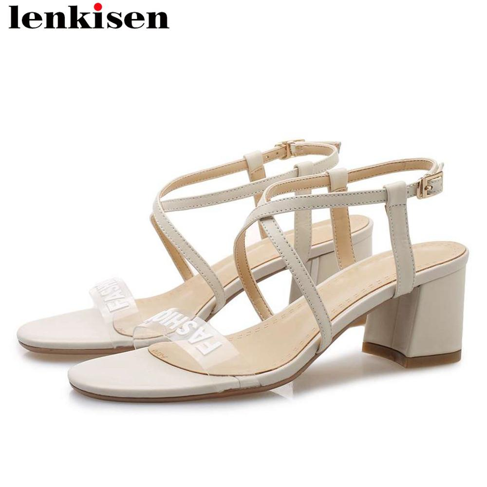 Lenkisen new fashion buckle strap natural leather women sandals buckle strap chunky med heels peep toe summer brand shoes L07Lenkisen new fashion buckle strap natural leather women sandals buckle strap chunky med heels peep toe summer brand shoes L07