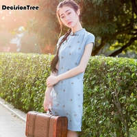 2019 summer cheongsam floral qipao chinese traditional dress women's satin cheongsam qipao short sleeve long dress flower print