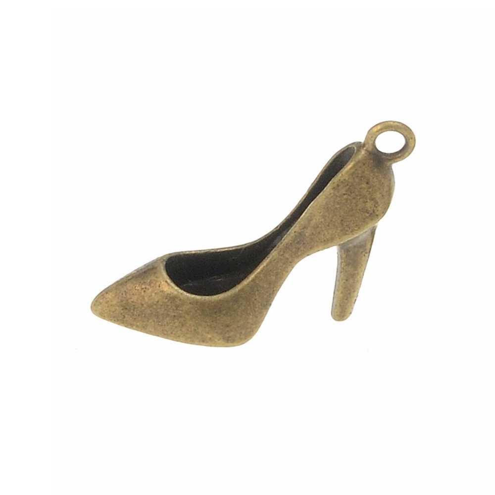 4 adet Yüksek topuklu ayakkabılar Takılar 28*12*9mm DIY Takı Yapımı Kolye Fit Bilezik Kolye Vintage Antik gümüş, antik Bronz