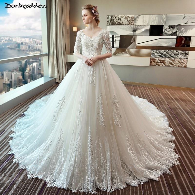 Vestido De Noiva Luxury Wedding Dress Ball Gown Half Sleeve Lace Wedding Dress V Neck Open Back Long Train Wedding Gown 2018