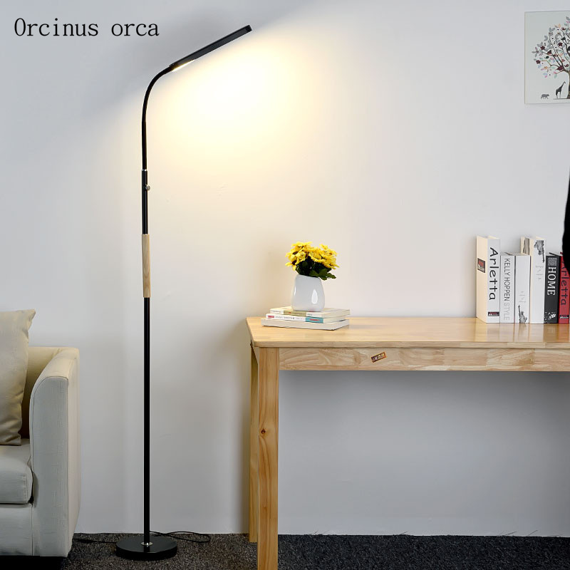 Nordic minimalist LED dimming floor lamp living room bedroom bedside lamp modern American style creative iron floor lamp french garden vertical floor lamp modern ceramic crystal lamp hotel room bedroom floor lamps dining lamp simple bedside lights