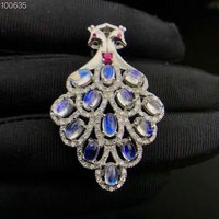 natural blue moonstone pendant S925 silver Natural gemstone Pendant Necklace trendy double Peacock women Child party jewelry