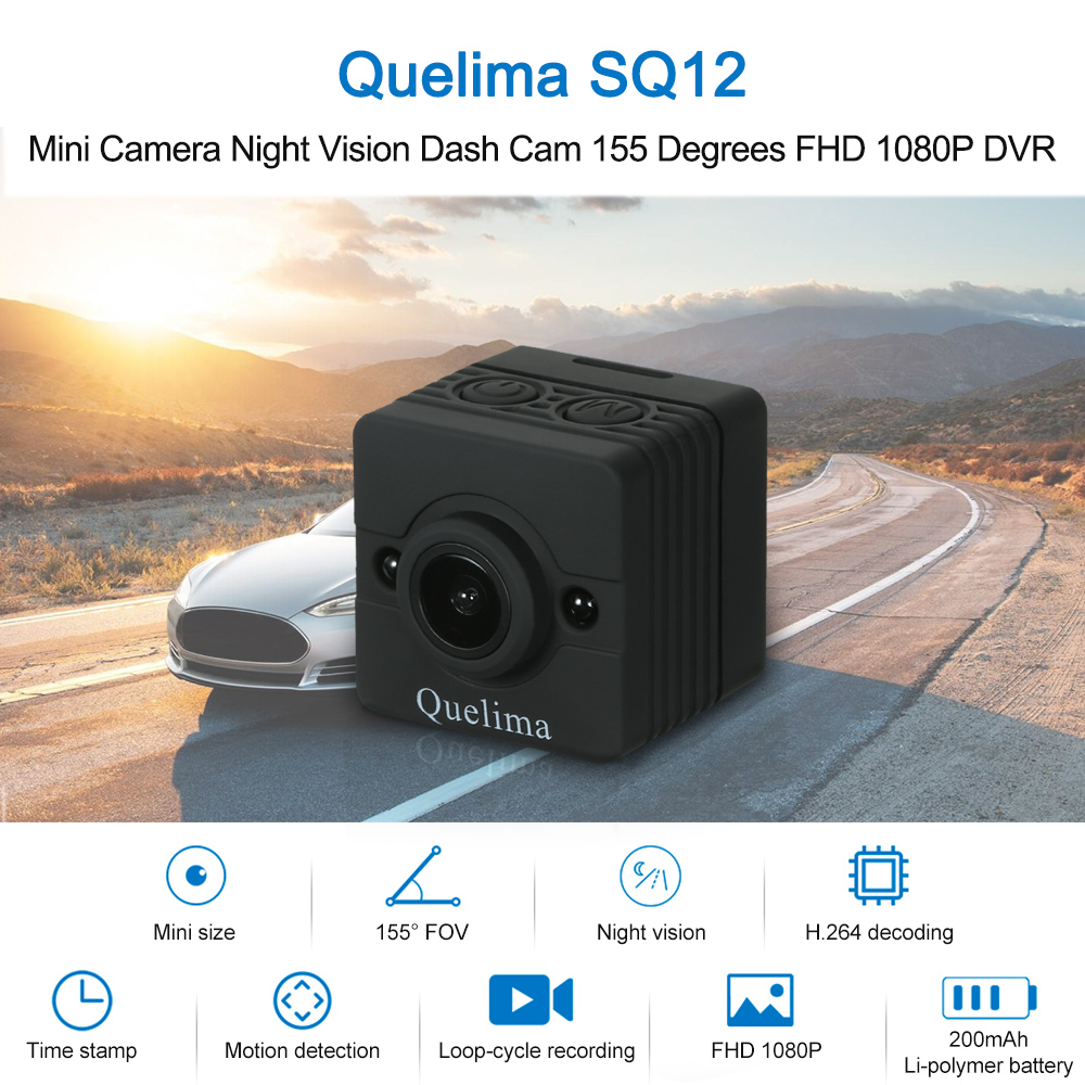 Quelima Car DVR 200mah-Battery Dash-Cam Mini Camera Night-Vision FHD 1080P Built-In SQ12