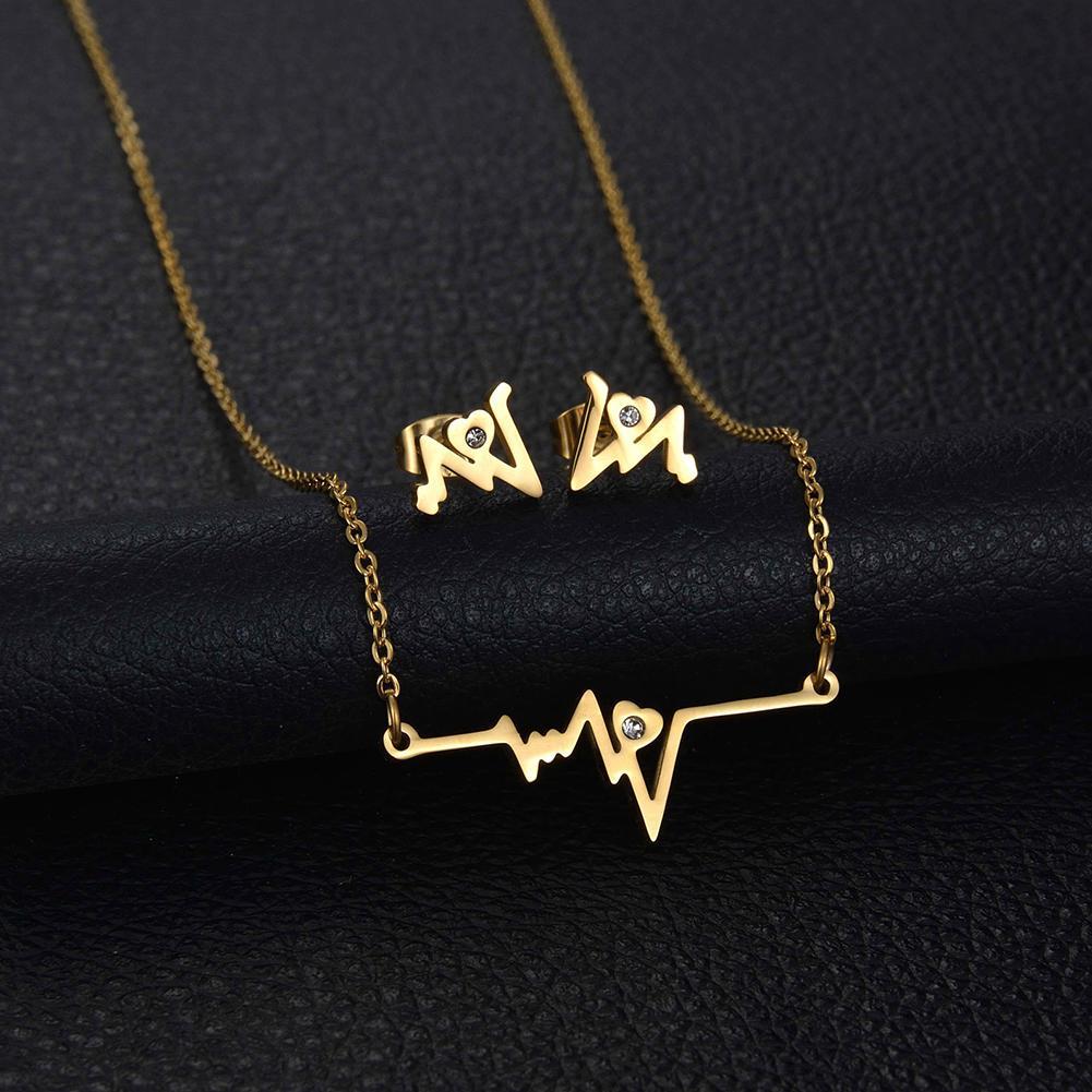 Necklace Earrings Jewelry-Set Gift Rhinestone Fashion Metal Heartbeat Women ECG
