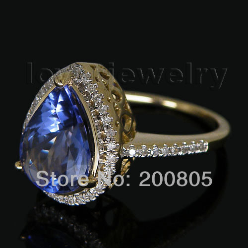 Винтаж Груша 7x9 мм 14kt желтого золота природных алмазов Синий танзанит кольцо SR0010