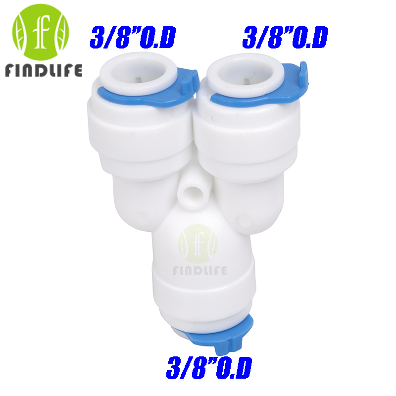 Water Filter Parts 5 PCS Equal Type Y 3/8  OD Tube Quick Connection Fittings Aquarium RO Reverse Osmosis Water System Y666 equal tee union 1 4 tube od hose quick connector ro water filter fittings quick connect adapter for reverse osmosis aquarium