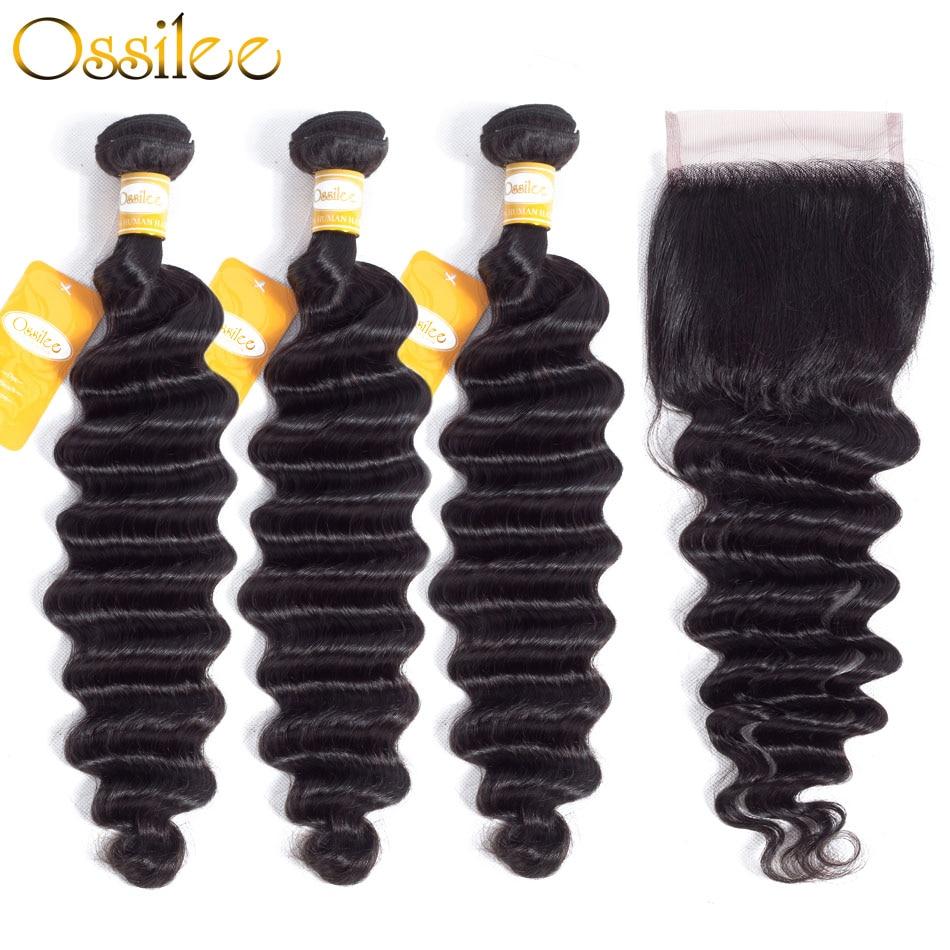 Ossilee Loose העמוק גל שיער חבילות עם סגירת 4 יח'\חבילה RemyHair חבילות לארוג שיער ברזילאי צרורות שיער אדם עם סגירה