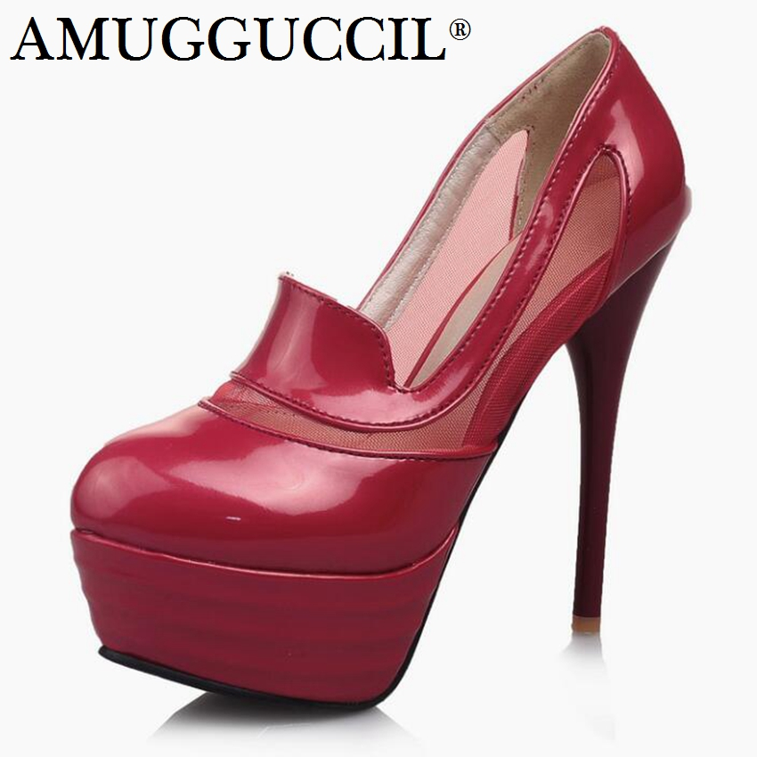 2018 New Plus Big Size 31-44 Black Red Fashion Sexy High Heel Platform Spring Autumn Ladies Females Shoes Women Pumps D1192