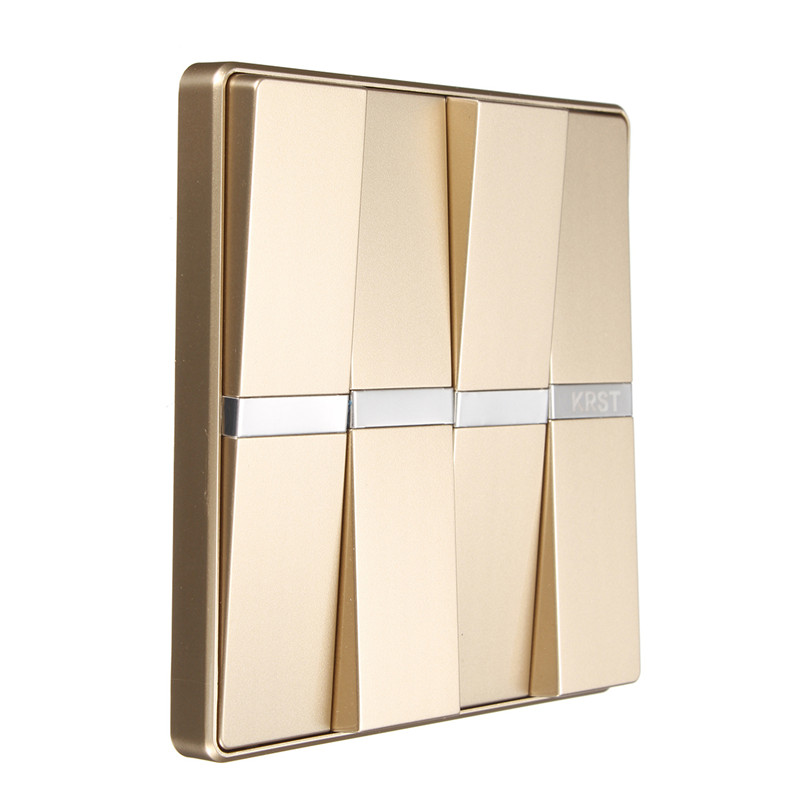 KRST Luxury LED Lighting Switch 4 Gang 1 Way, 4 Gang 2 Way Push Button Wall Switches AC 250V 16A 86x86mm Popular krst luxury led lighting switch 2 gang 1 way 2 ways n ways push button wall switches ac 250v 10a 86x86mm popular