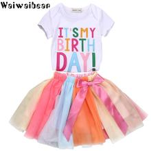 Waiwaibear Summer New Baby Sets Newborn Clothes Short Sleeve T-shirts +Dress 2PCS Infant Clothing ZT9